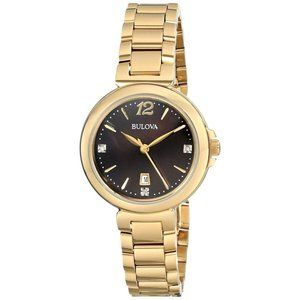 Bulova Women's Watch Diamond Gold Analog Display